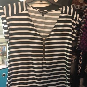 striped blouse with zipper